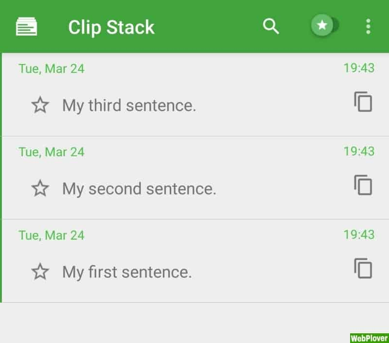 clipStack app interface - WebPlover