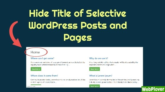 How to Hide Title from a Post or Page in WordPress