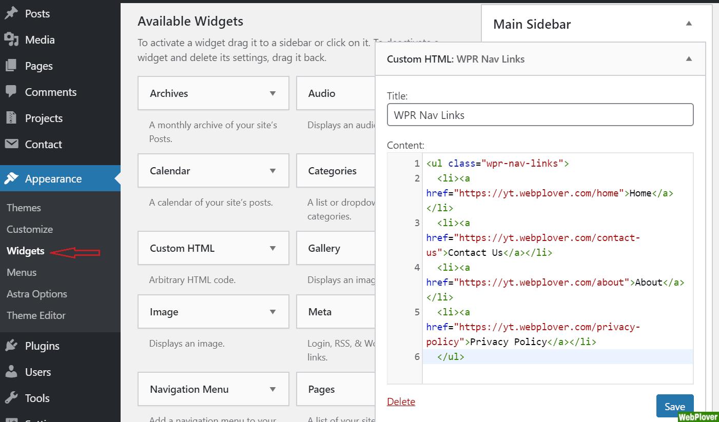 add code to sidebar widget - WebPlover