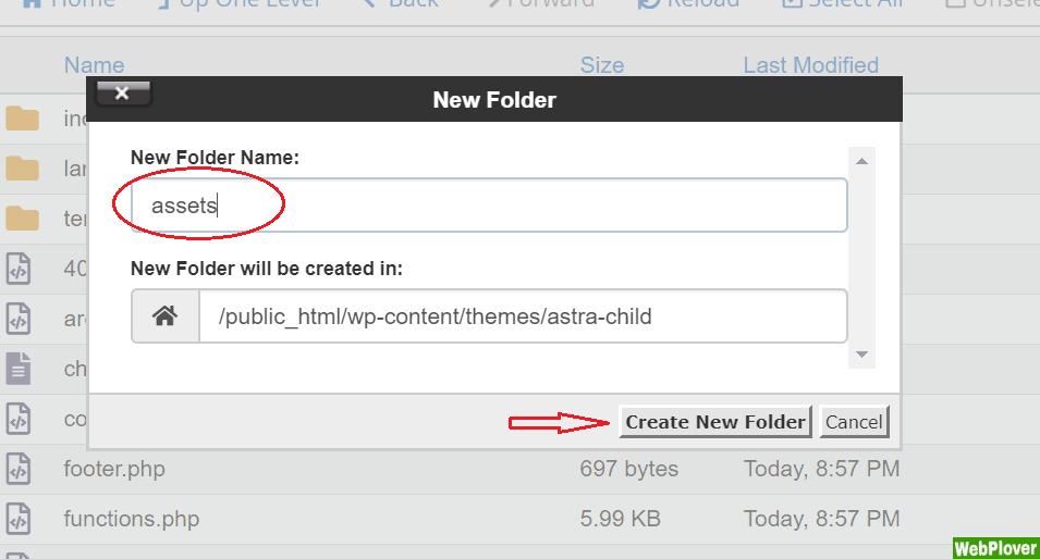 create assets directory - WebPlover