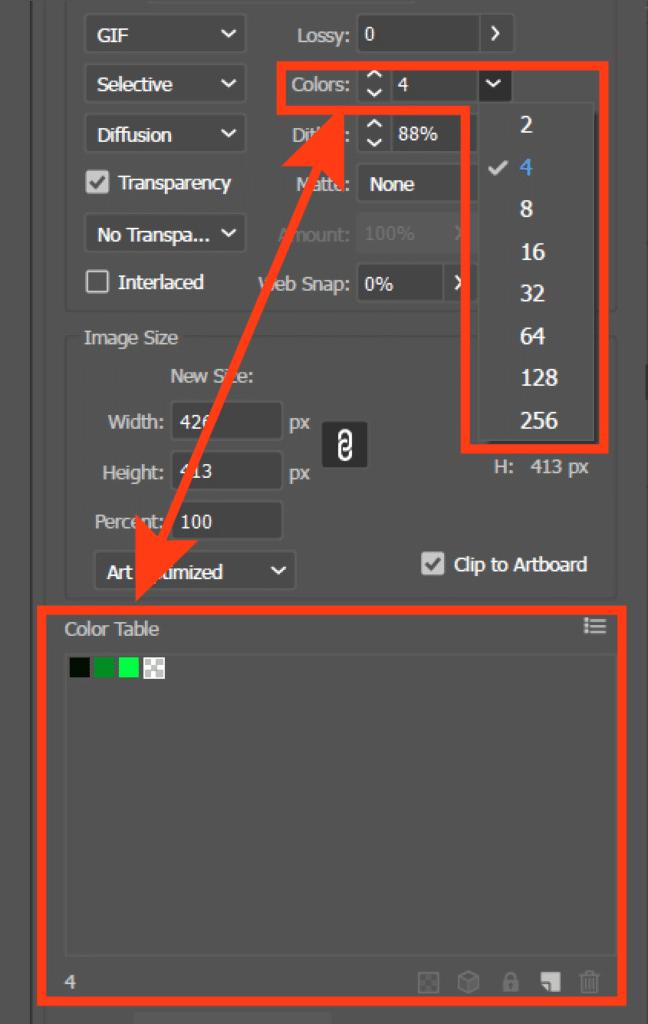 gif color selecting option