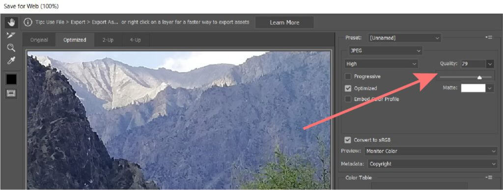 jpeg quality selection in photoshop