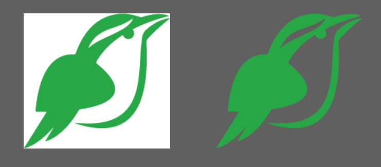 logo in JPEG (left) and PNG (right) formats showing trasparency.